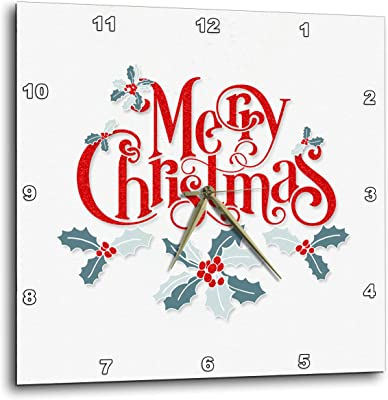 Merry Christmas Typography in Red with by Holly Leaves and Berries 3dRose Doreen Erhardt Christmas Collection T-Shirts