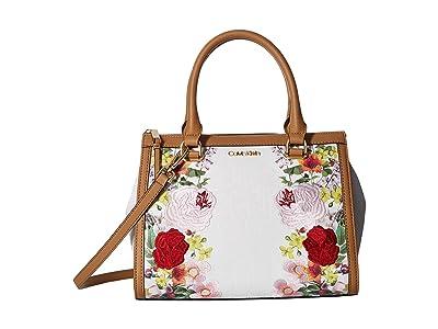 Calvin Klein Mercy Floral Embroidered Monogram Satchel (Floral White) Handbags