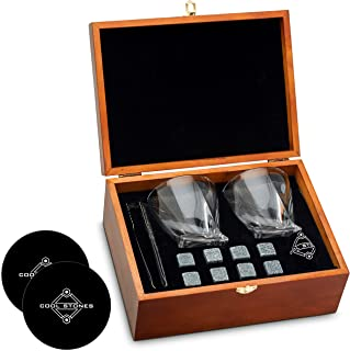 Whiskey Stones and Whiskey Glass Gift Boxed Set, 8 Granite Chilling Whisky Rocks, 2 Glasses in Wooden Box, Great Gift for ...