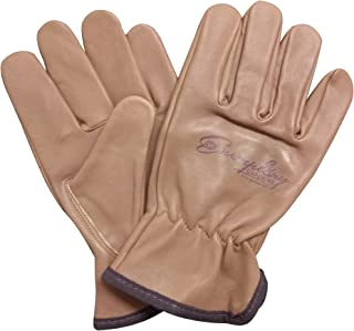 Heavy Duty Goatskin Leather Work Gloves for Men and Women. General Purpose Utility, Driver, Rigger, Safety, and Gardening Gloves (Large, Brown)
