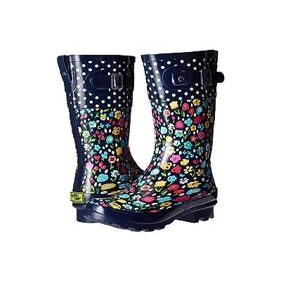 Western Chief Kids Classic Tall Top Pop Floral Fun (Little Kid/Big Kid) (Navy) Girls Shoes