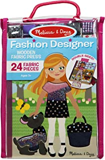 Melissa & Doug Fashion Designer Wooden Fabric Press – 24 Fabric Pieces to Layer, Great Gift for Girls and Boys – Best for 5, 6, 7, and 8 Year Olds