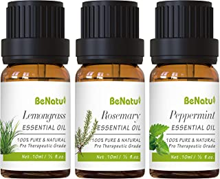 Peppermint Essential Oils Set (with Lemongrass, Rosemary) for Diffuser, Skin Care, Hair Growth - Orangic & Pure Therapeuti...