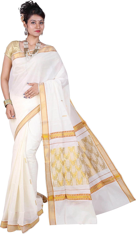 Fashionkiosks Women's Cotton Saree With Blouse