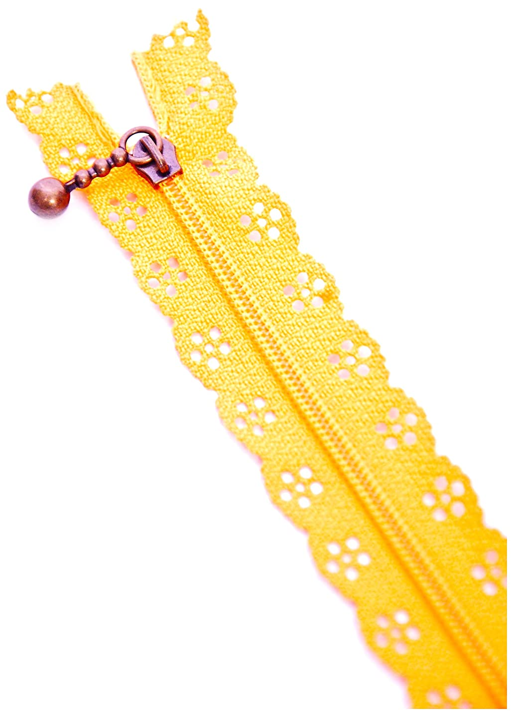 Button The Company 20 cm Nylon Lace Exposed Zip, Tangerine