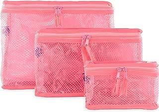 Containers By Aline- Set de 3 Cosmetiqueras transparente- Cosmetiqueras multiusos para medicinas, pañalera o maquillajes- Cosmetiqueras para viaje - Organizador de baño - Organizador de artículos de aseo personal - Cosmetiqueras para mujer - Neceser de Maquillaje Color Rosa