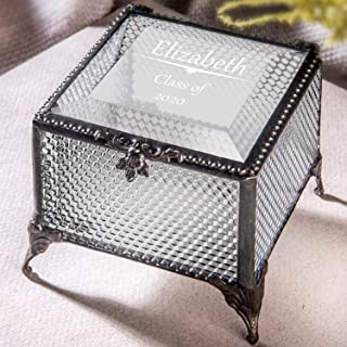 Personalized Graduation Gift for Her Glass Jewelry Box Engraved Keepsake High School Graduate Or College Grad Class of 2019 Daughter Granddaughter Girl Friend J Devlin Box 825 EB241 (Clear Honeycomb)