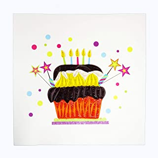 Quilling Birthday Big Cake - WOW Quilled Greeting Card for All Occasions Love, Anniversary, Good Bye, Thank you, Friendship, for any Age, Genders - Handmade Quilled, Premium Paper, Envelope Included