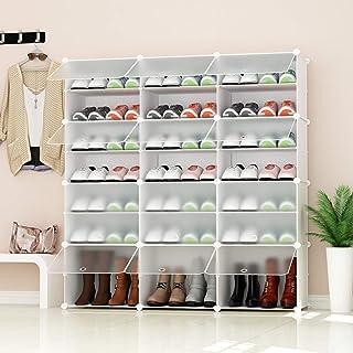 PREMAG Range-Chaussures Portable, Blanc avec Portes Transparentes, Tablette modulaire pour Gagner de la Place, Porte-Chaus...