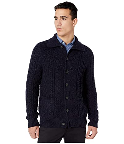 J.Crew Merino Wool-Blend Cable-Knit Mockneck Cardigan (Dark Navy Donegal) Men