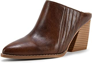 Sponsored Ad - Womens Heeled Mules Closed Pointed Toe Chunky Stacked Heel Slip On Clogs Backless Shoes