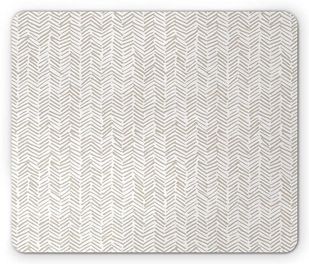 Chevron Mouse Pad, Hand Drawn Monochrome Herringbone Lines Composition of Abstract Ethnic Zigzags, Standard Size Rectangle Non-Slip Rubber Mousepad, Beige and White