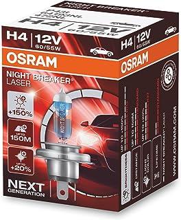 OSRAM NIGHT BREAKER LASER H4, +150% más de luz, lámpara halógena para faros, 64193NL, coche de 12 V, caja plegable (1 lámp...