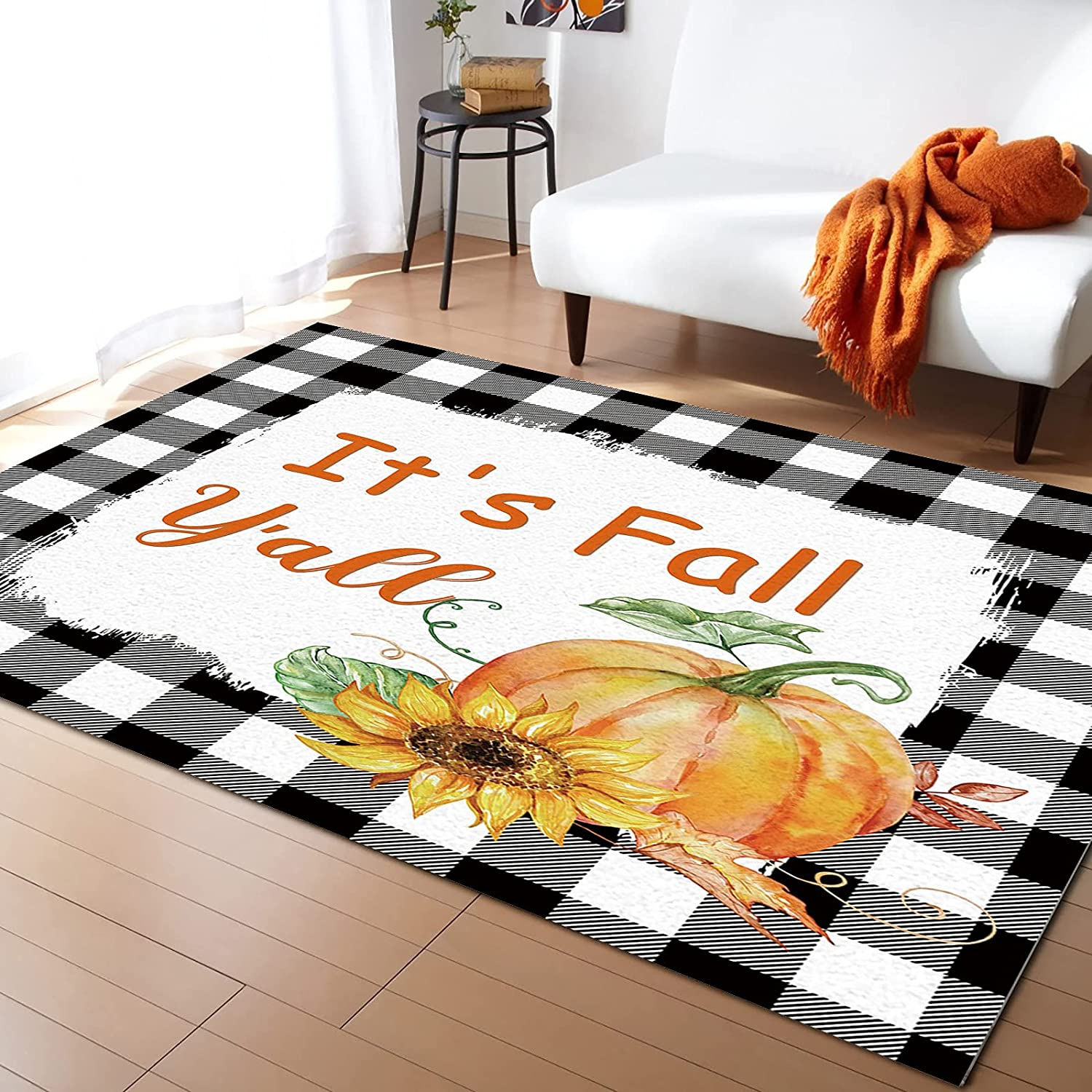 ARTSHOWING Save money Plaid Area Rug Shipping included 5' x Sofa Durable for Floor Carpet 8'