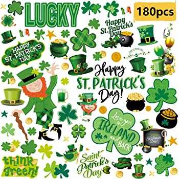 Hidreas 138 PCS St Shamrock Window Stickers Clings Decal 6 Sheets Patricks Day Window Clings Stickers
