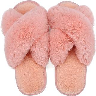 Lvptsh Zapatillas de Casa para Mujer Invierno Pantuflas Hombre Cálidode Slippers Fluff Zapatos de Casa Planas Peludo Antid...