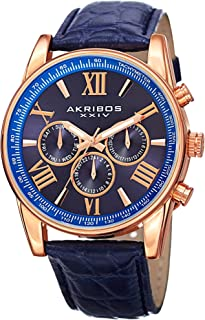 Akribos XXIV Men's Blue Dial Leather Band Watch - AK864RGBU