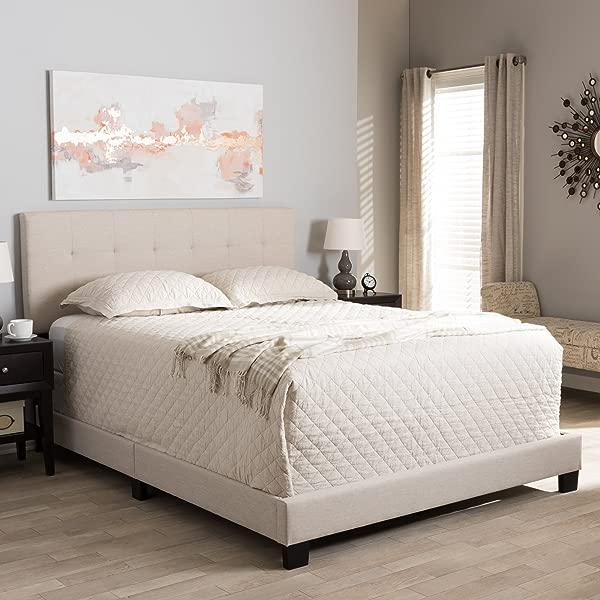 Baxton Studio Grid Tufted Platform Bed In Beige King 83 27 In L X 80 31 In W X 47 05 In H