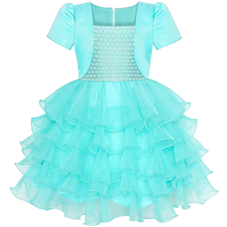 子供ドレス 女の子ドレス 2イン1 ボレロ ターコイズ 誕生日 パーティー 110/115/125/130/140cm