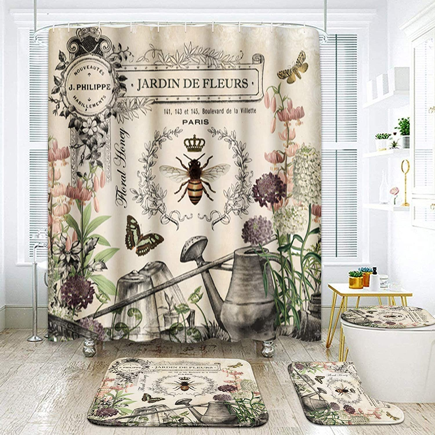 ArtSocket 4 Pcs Shower Curtain Set Plant bee Butterfly Stamp Retro Beautiful Floral with Non-Slip Rugs Toilet Lid Cover and Bath Mat Bathroom Decor Set 72