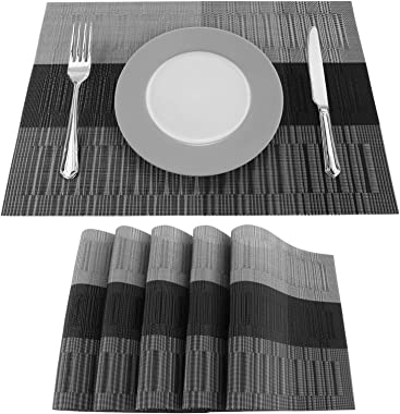 Atemws Placemats Vinyl Woven Dinning Table Mats Washable Non-Slip Farmhouse Place Mats Set of 6