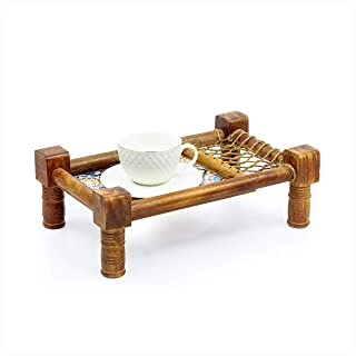 Nagina International Traditional Decorative Asian Cot Tray for Snacks & Drinks | North Indian Decorative Wooden Coat Decor...