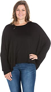 24seven Comfort Apparel Women's Plus Size Oversized Long Dolman Sleeve Shirt Top Pullover - Made in USA - (Sizes 1XL-3XL)