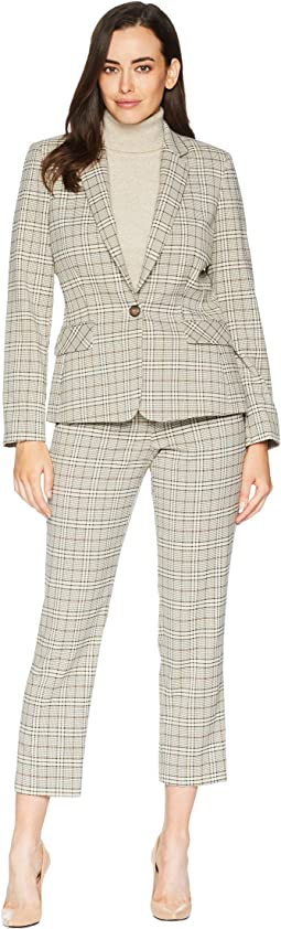 Contrast Under Collar Roll Sleeve Pants Suit