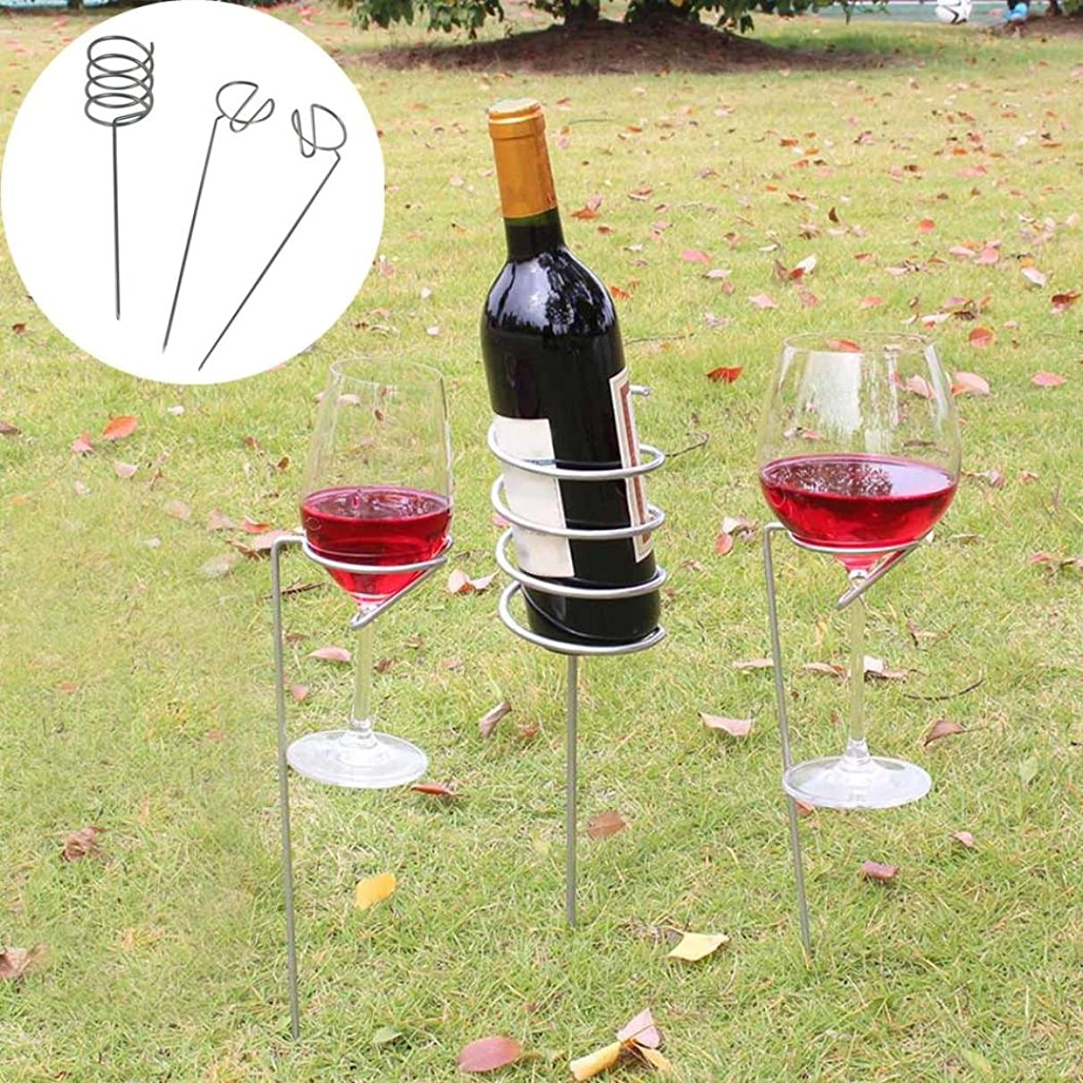 Wensltd Wine Stakes Set, Wine Glass & Bottle Holder Stake Set For BBQ Garden Picnic Camping Wine Stakes