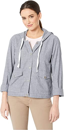 Button Front Patch Pocket Hooded Jacket in Ticking Stripe