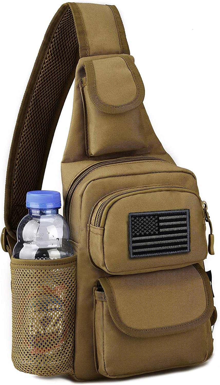 Protector Plus Tactical Sling Bag Military MOLLE Crossbody Pack (Patch Included)