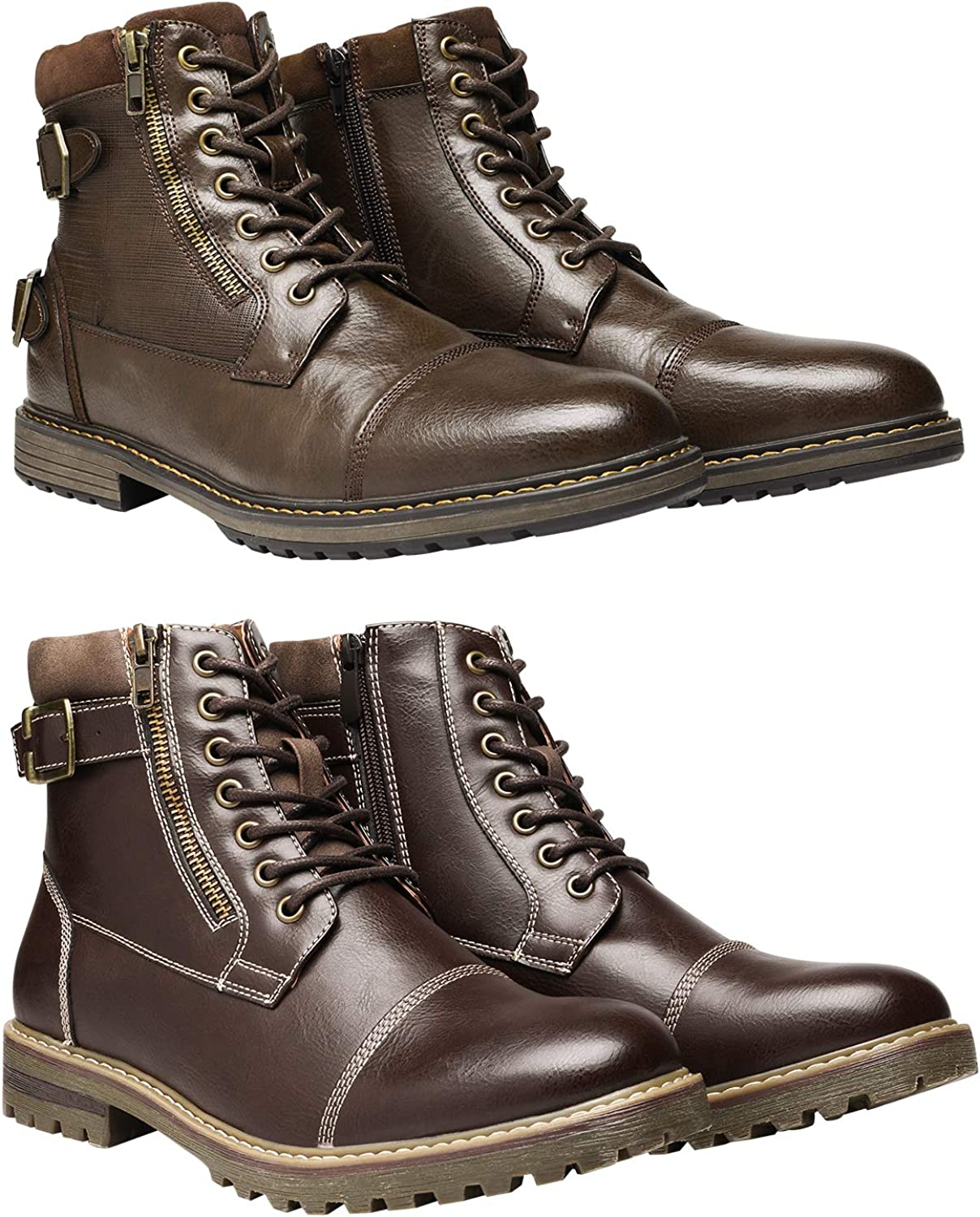 Bruno Marc Men's Motorcycle Boots Bundle with Men's Oxford Boots Size 8.5