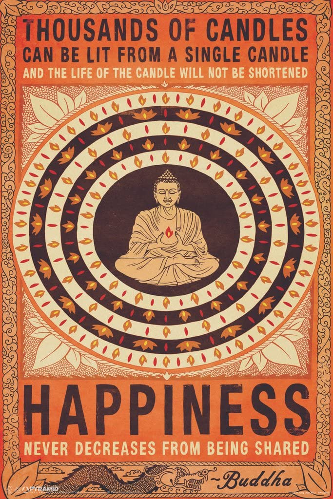 Pyramid America Thousands of Candles Buddha Happiness Quote Motivational Cool Wall Decor Art Print Poster 12x18