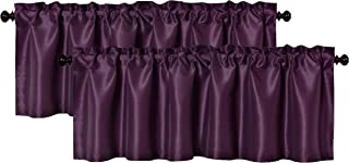 Aiking Home (Pack of 2) Solid Faux Silk Window Valance, 56 by 16 Inches, Eggplant