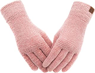 Women's Winter Touch Screen Gloves Chenille Warm Cable Knit 3 Touchscreen Fingers Texting Elastic Cuff Thermal Gloves