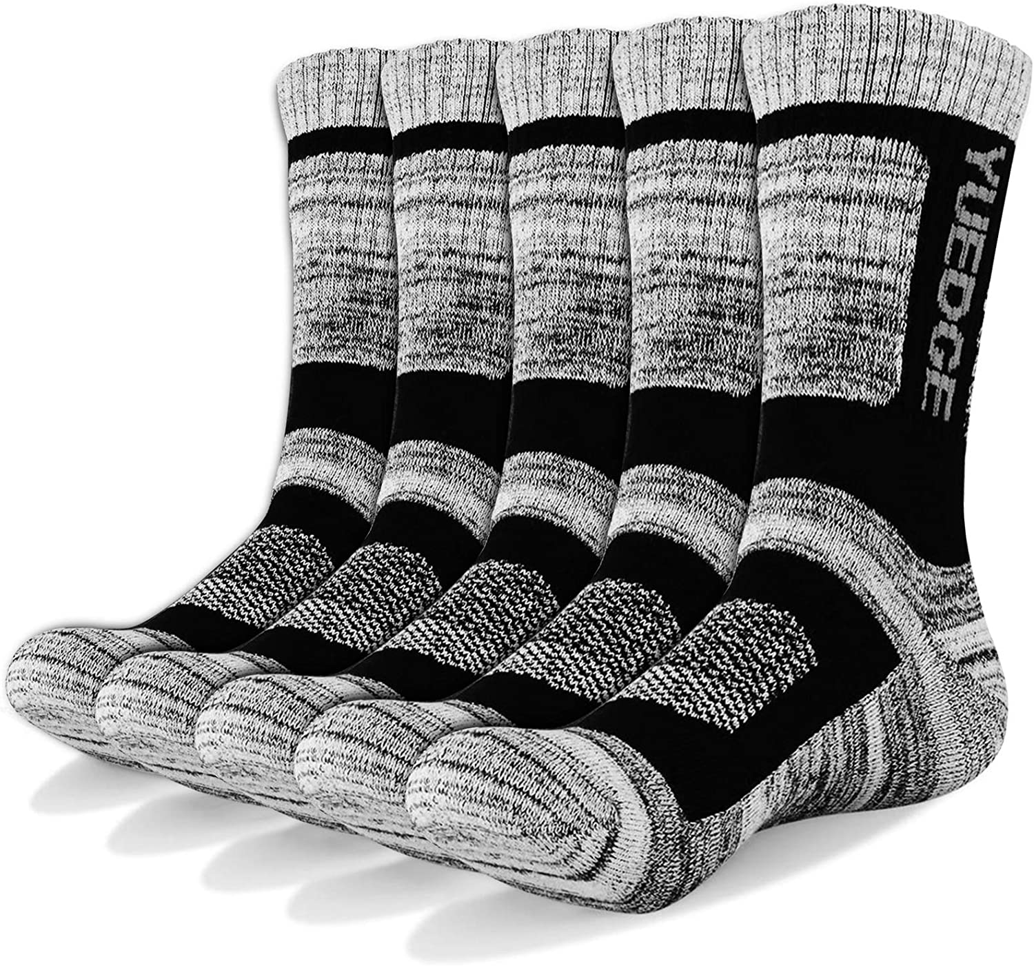 YUEDGE Men's 5 Pairs Athletic Socks Breathable Cushion Comfortable Casual Crew Socks Performance Multi Wicking Workout Sports Socks for Outdoor Recreation Trekking Climbing Camping Hiking