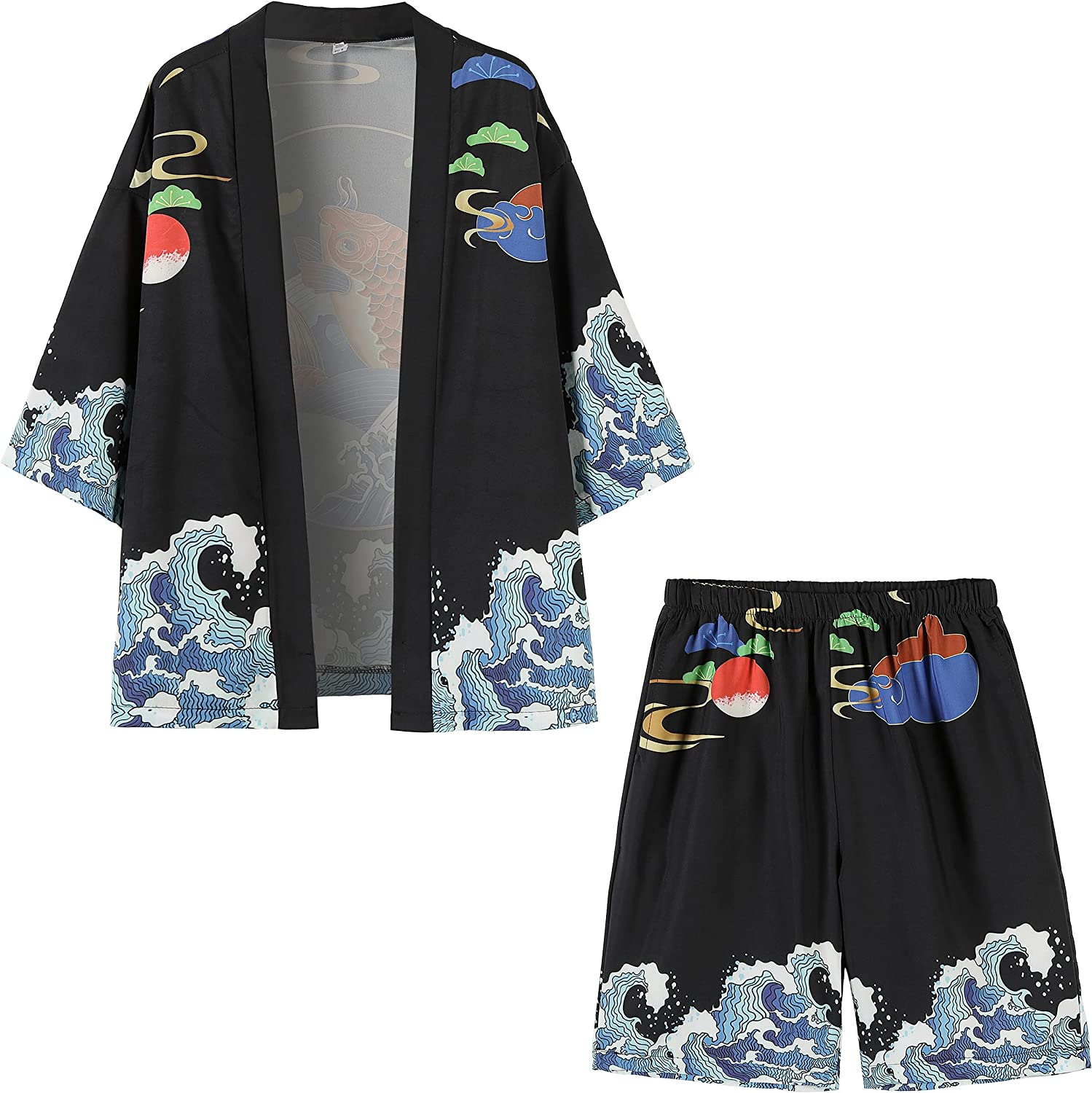 PRIJOUHE Mens Japanese Kimono Spring new work one after another Coat Open Front Loose Albuquerque Mall Seven Suits