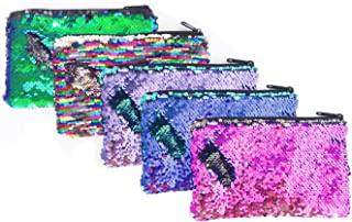 5 Pieces Glitter Reversible Sequin Pencil Pouch Small Makeup Organizer Bag Purse,Assorted Colors (Reversible Sequin)