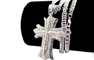 Iced Out CZ Cross 14K Hip Hop Silver Plate Jewelry, Bling Bling Pendant Necklace 30