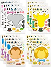 Kicko Make-a-Zoo Animal Sticker Sheets -12 Pack - for Kids, Arts, Parties, Birthdays, Party Favors, Crafts, School, Daycare, Etc.