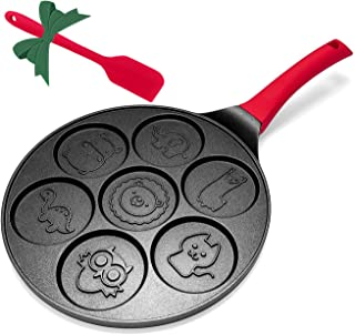 Pancake Pan Molds Maker Non-stick Griddle 10 Inch Grill Pan Mini Crepe Maker 7-Mold Pancakes with Silicon Handle, Black Animal