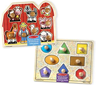 Melissa & Doug Jumbo Knob Puzzles - Shapes and Farm Animals