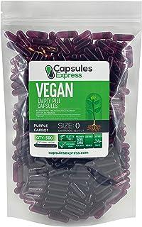 Capsules Express- Size 0 Purple Carrot Empty Vegan Capsules - Vegetarian/Vegetable Pill Capsule - DIY Powder Filling (500)
