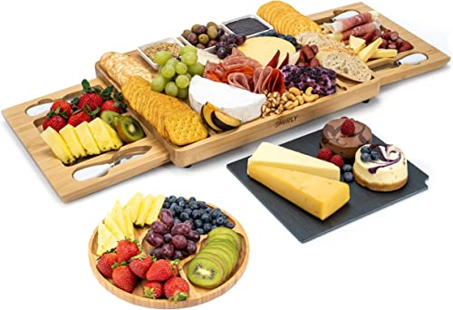 lowest SMIRLY Cheese Board and Knife Set: Large Charcuterie Board Set, Cheese Platter Board, Bamboo Cheese Board with Cutlery Set, Cheese Tray, Wooden Cheese Board outlet sale Set, Cheese Cutting Board lowest Set, Cheese Plate sale
