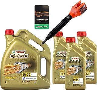 3x 1 L + 5 L = 8 Liter Castrol Edge Fluid Titanium 5W 30 LL Motoröl inkl. Castrol Ölwechselanhänger und Einfülltrichter