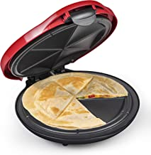 Taco Tuesday Máquina de Quesadilla Elétrica Deluxe de 25 cm com Trava de Enchimento Extra, Vermelha