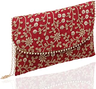 Kuber Industries Women's Handcrafted Embroidered Clutch Bag Purse Handbag for Bridal, Casual, Party, Wedding (Maroon) CTKT...