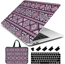 Dongke Laptop Case for New MacBook Air 13 Retina (2019/2018, Touch ID) with Keyboard Cover + Sleeve + Dust Plug Plastic Hard Shell Case A1932 (Tribal Pattern)
