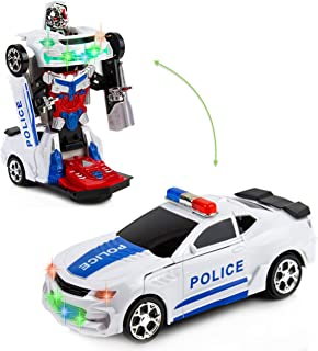 Toytykes Transformer Robot Police Car - Transform from Police Car to Robot and Vice Versa - Comes with Lights and Sounds - Bump and Go Action - Great Gift Idea