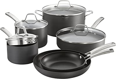 Calphalon Classic Nonstick Cookware Set, 10-piece, Grey
